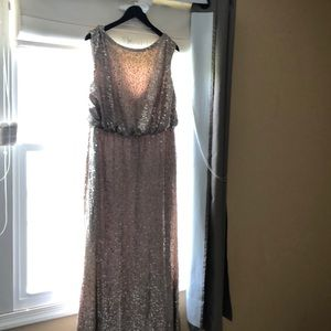David's Bridal: Gold sequin dress